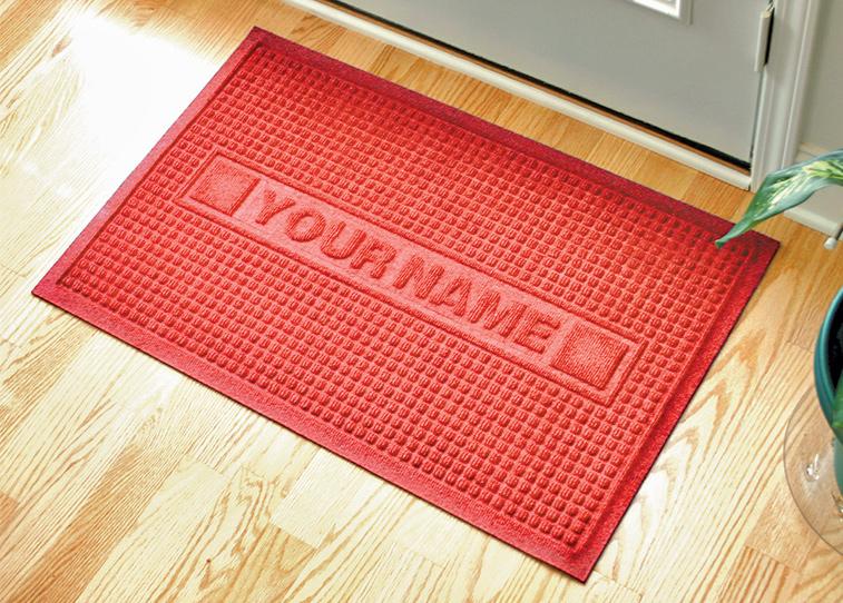 personalized sculpture classic waffle logo door mat floormatshop