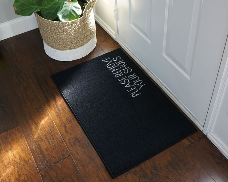 2 X 3 Remove Your Shoes Welcome Doormat Black