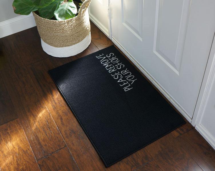 Excellent 2' x 3' Remove Your Shoes Welcome Doormat - Black - FloorMatShop  EH19