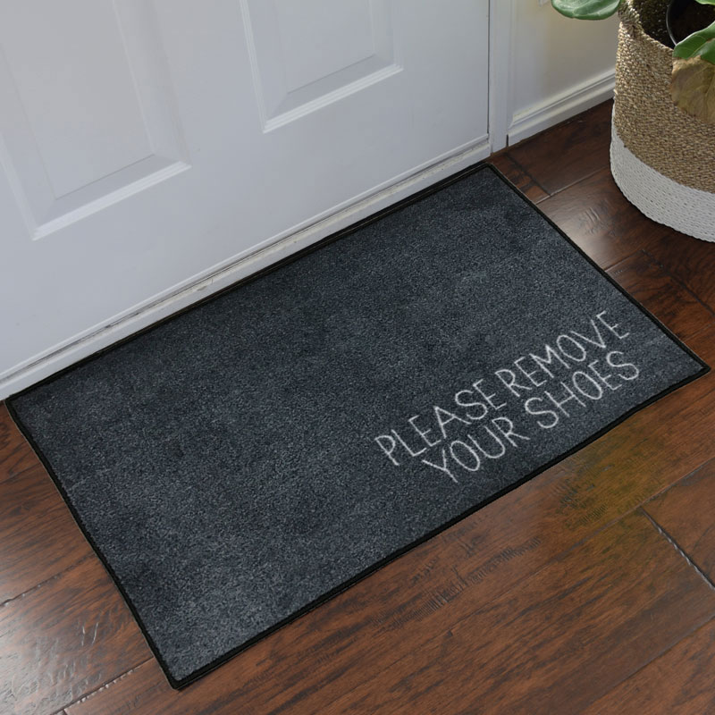Please Remove Your Shoes Message Doormat Grey